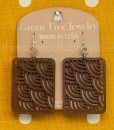 cinnamon waves in squares earrings