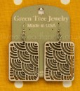 natural wood waves in squares earrings