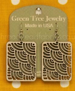 natural wood waves in squares earrings