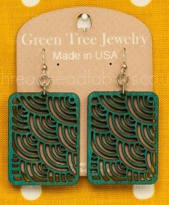 teal waves in squares earrings
