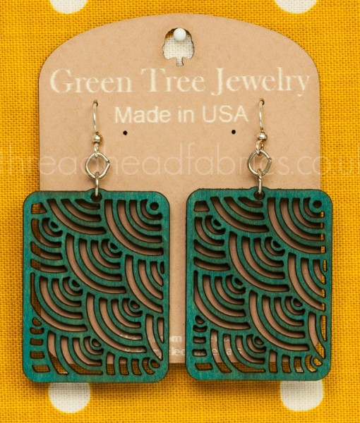waves in squares earrings in teal