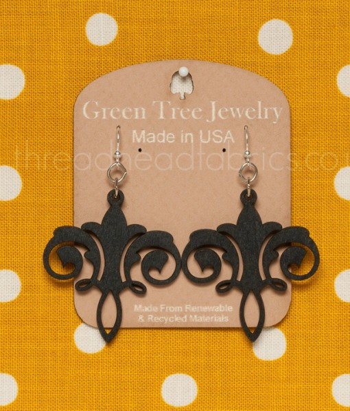 green tree chandelier earrings in black