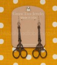 brown wooden embroidery scissor earrings
