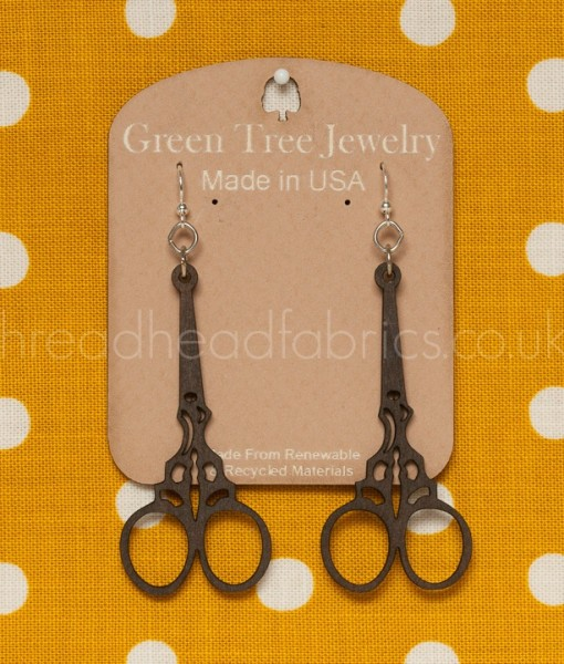 green tree embroidery scissor earrings brown
