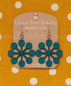 green tree modern snowflake earrings