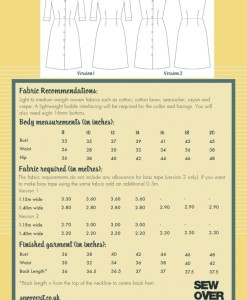 vintage shirt dress pattern back