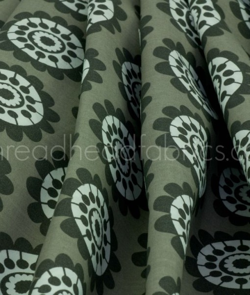 gum flower folded organic cotton fabric