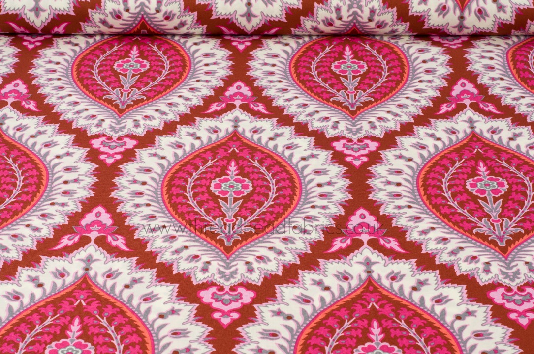 imperial paisley organic cotton fabric in ruby by amy butler