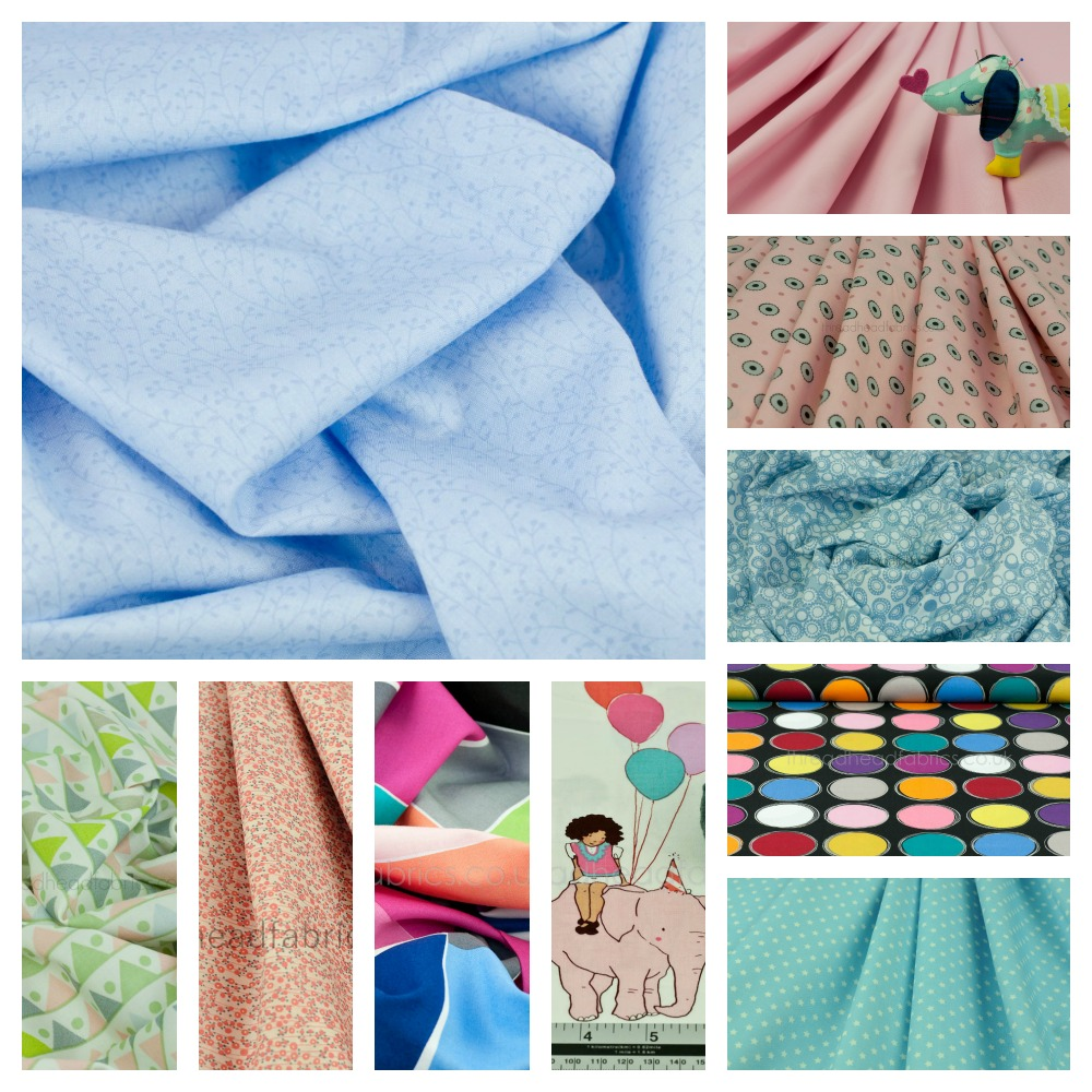 fabrics with pinks and blues