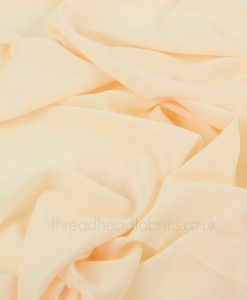 Swirled Polyester Georgette Fabric in Buttercream