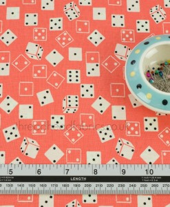 Peach Roll the Dice Quilting Fabric