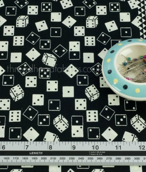 Black Roll the Dice Fabric Detailed
