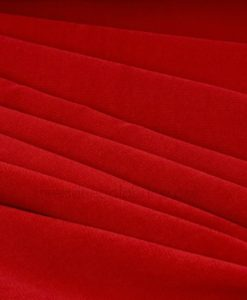 Folded poly velour in Clarins red