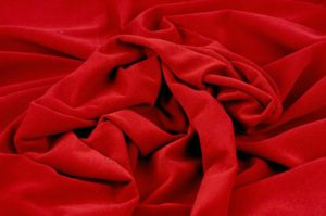 swirled poly velour in clarins red