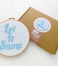 let it snow embroidery hoop art