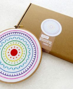 modern embroidery sampler hoop wall art