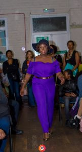 purple jumpsuit by Ghislaine Gazon