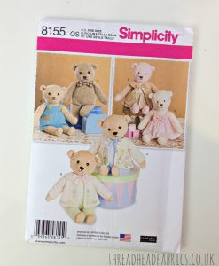 Teddy Bear Simplicity 8155 Sewing Pattern