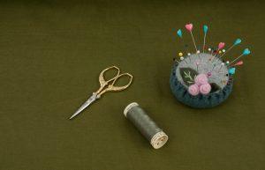 Cotton Needlecord Fabric in Moss Green