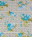 Cotton Sateen Blue Green Grey Floral