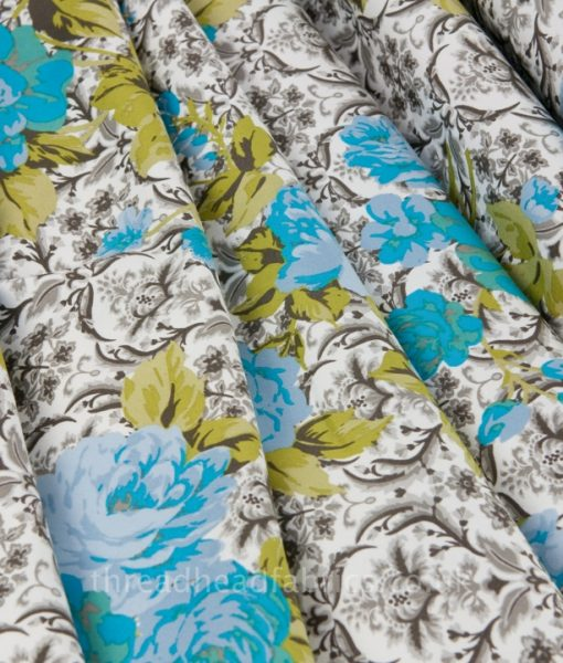 Cotton Sateen Floral Fabric Folded