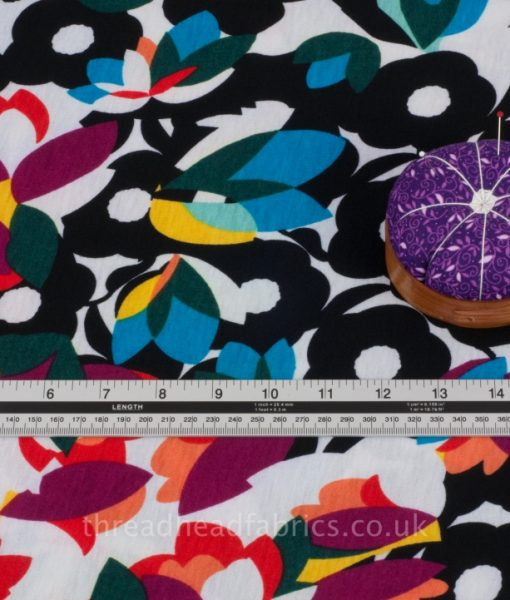 floral jersey dressmaking fabric detail