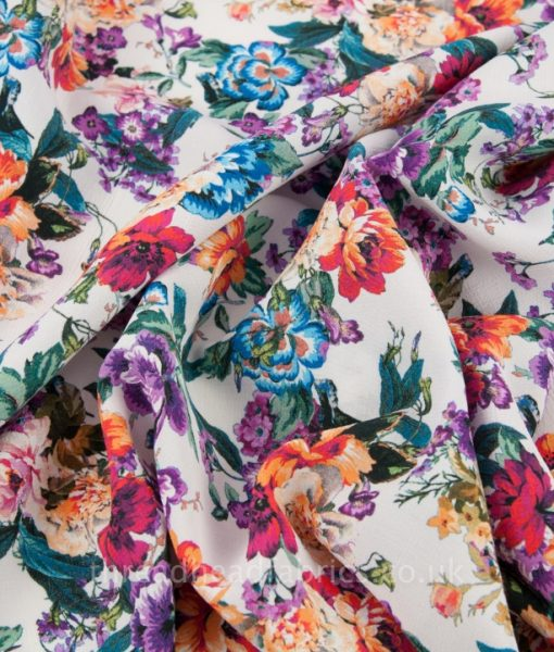 gorgeous floral viscose fabric swirled
