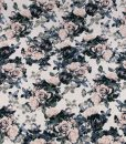 modern monochrome floral crepe dressmaking fabric