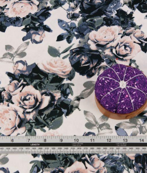 neutral floral crepe dressmaking fabric