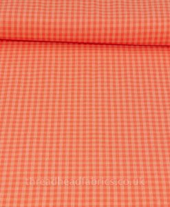 checks please organic coral and salmon fabric